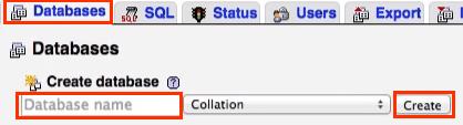 MAMP database creation