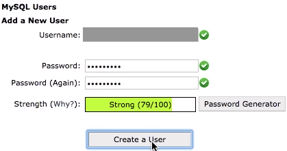 MySQL database new user