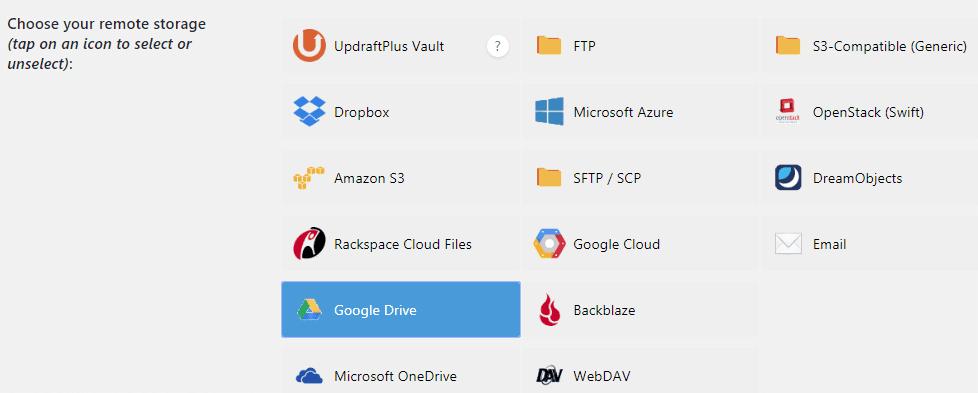 adding remote storage for storing updraftplus backups