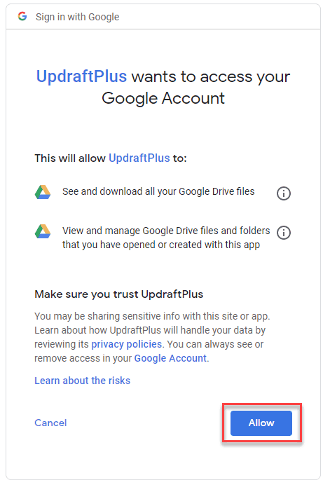 allow permissions to updraftplus with google drive