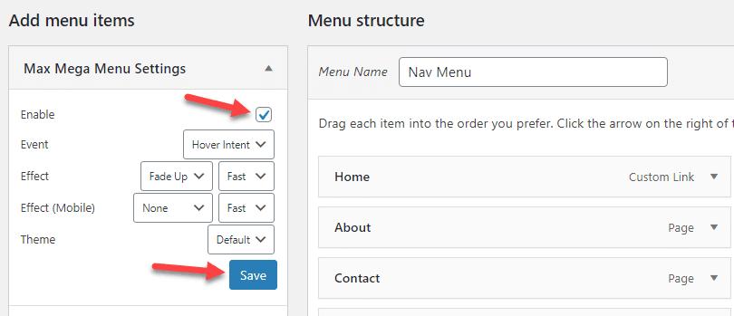 enable mega menu