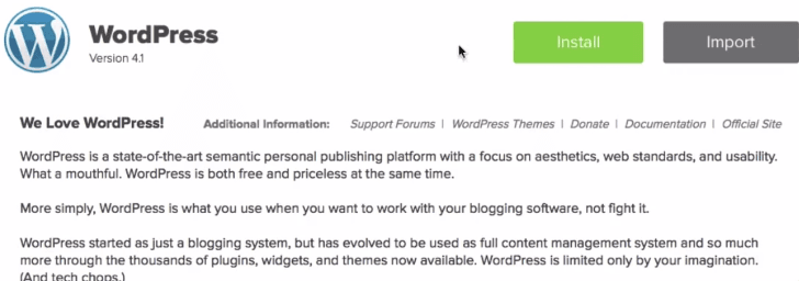 install wordpress using mojo marketplace