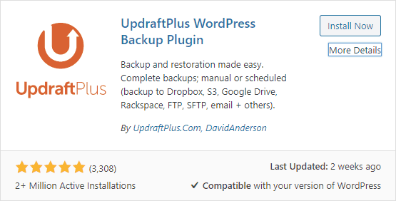 installing & activating updraftplus for creating a backup of your website