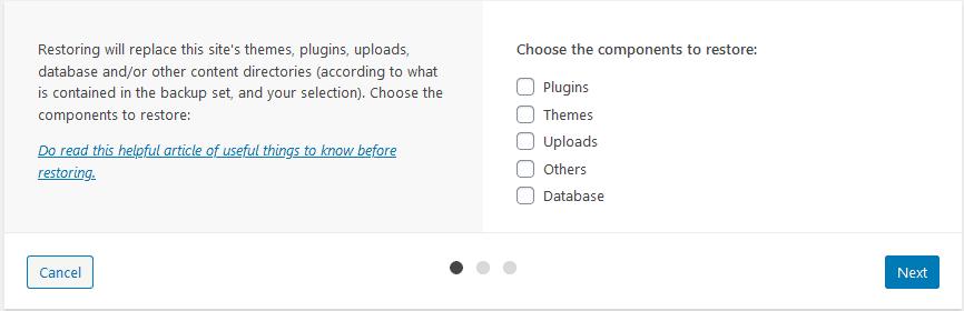 updraftplus full website restoration