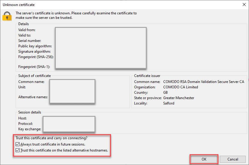 FTP client trust certificate