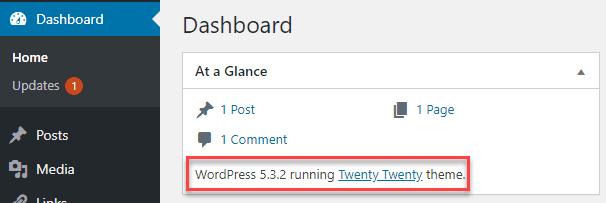 checking wordpress version