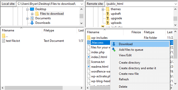 download a file from wordpress to computer