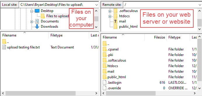 filezilla after connecting to your website
